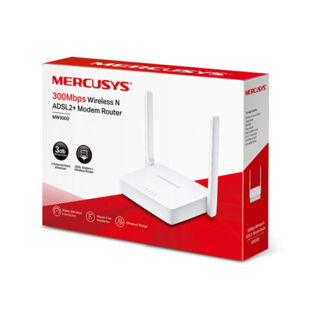 Modem Router Mercusys MW300D 300Mbps Adsl2+ Aba Cantv